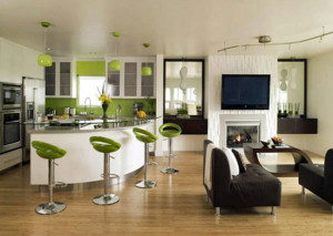 Modern Interior Furniture Green Bar Stool Charming Studio Apartm